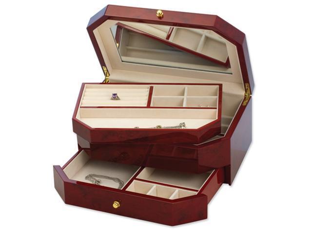 Dark Burlwood High Gloss Finish Jewelry Box