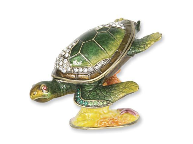 Enameled & Crystal Diving Sea Turtle Trinket Box