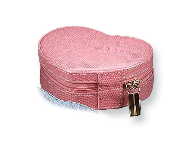 Pink Bonded Leather Heart Jewelry Case