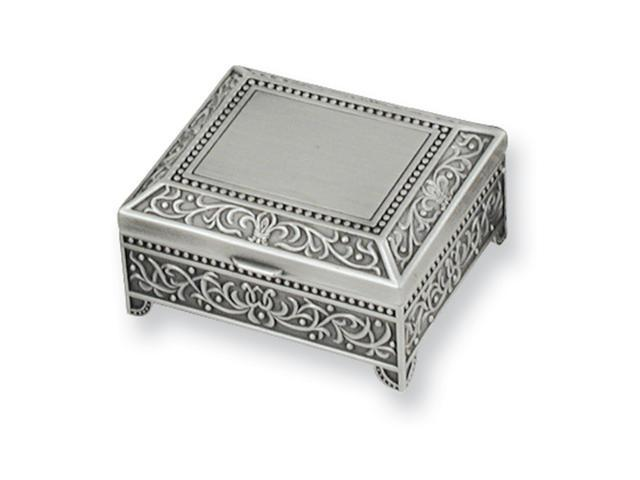 Pewter Finish Floral Square Jewelry Box