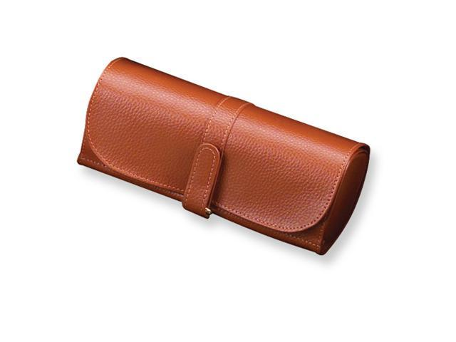 Tan Split Grain Leather Jewelry Roll