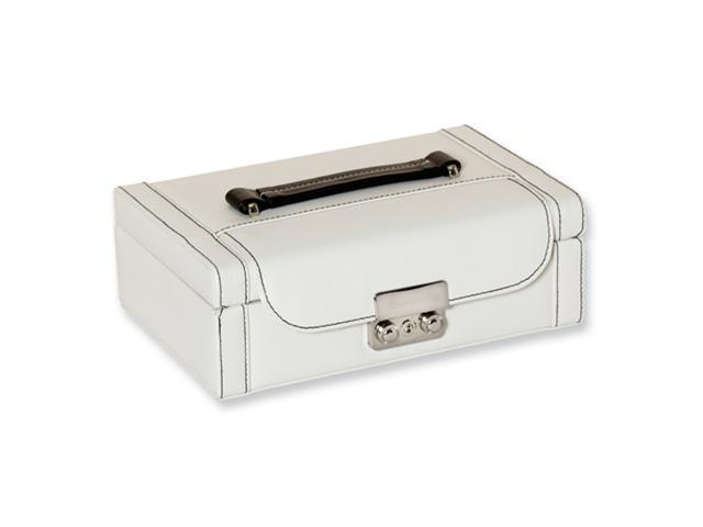 White with black stitching Rectangle Jewelry Case