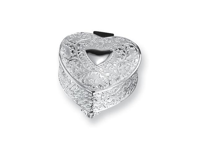 Silver-plated Hinged Lid Heart Jewelry Box