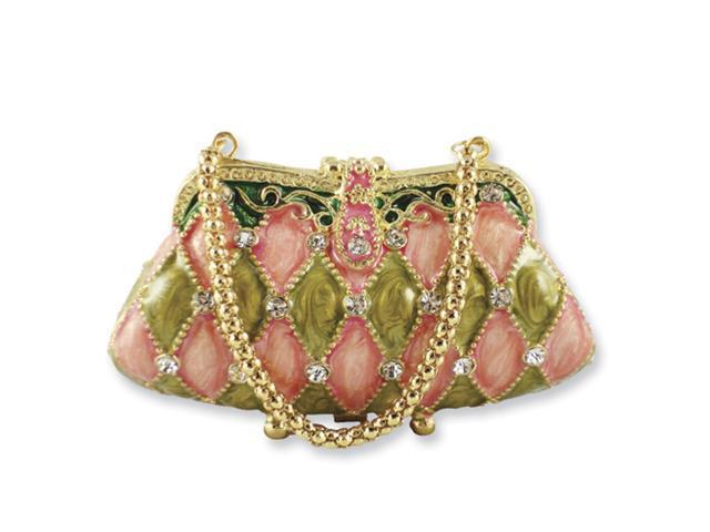 Pink/Green Enameled & Crystal Handbag Trinket Box