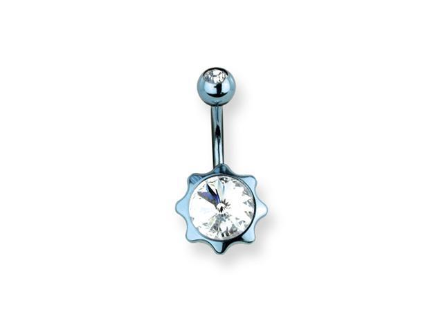 316L SRG GR SSTL 14G 13/32in.Blue w/Clr CZs Star Belly Ring
