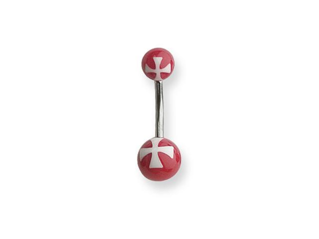 316L SRG GR SSTL 14G 7/16 Acrylc Cross Wht on Red Belly Ring