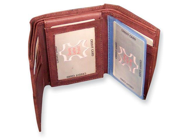 Brown Leather Tri-fold Wallet