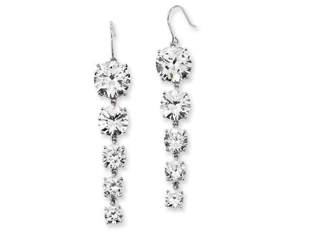 Sterling Silver CZ 5-Stone Dangle Earrings