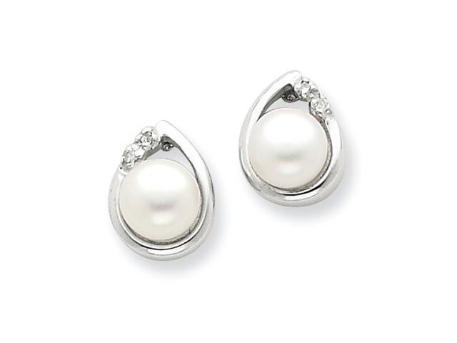 Sterling Silver Rhodium 5mm FW Cult Pearl & Diamond Post Earrings