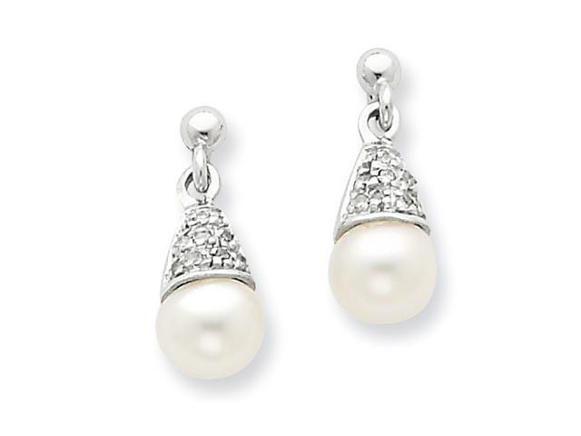 Sterling Silver Rhodium 6mm FW Cult Pearl & Diamond Post Earrings