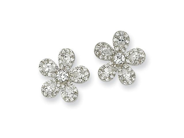 Sterling Silver Flower CZ Earrings