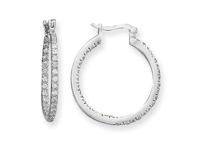 Sterling Silver CZ Hoop Earrings