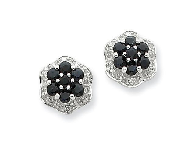 Sterling Silver Rhodium Shappire & Diamond Post Earrings