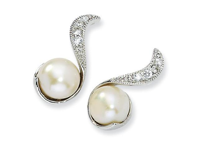 Sterling Silver CZ Cultured Pearl Swirl Post Earrings
