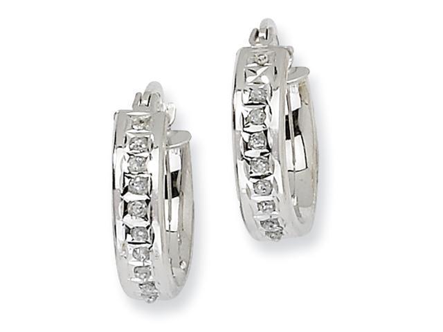 Sterling Silver Diamond Mystique Round Hinged Hoop Earrings