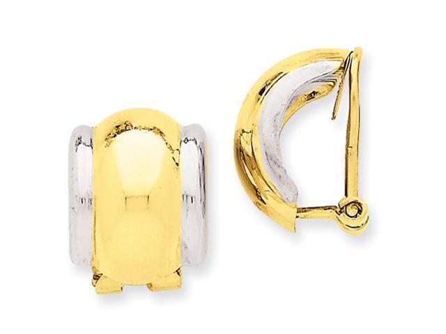 14k Two-tone Omega Clip Non-pierced Earrings