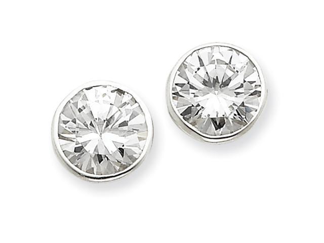 Sterling Silver 10mm CZ Round Bezel Stud Earrings