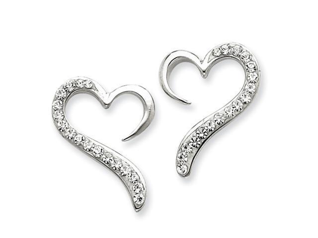 Sterling Silver w/ Swarovski Crystal Heart Earrings