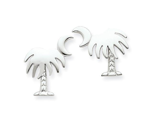 14K White Gold Charleston Palm Tree with Moon Post Earrings