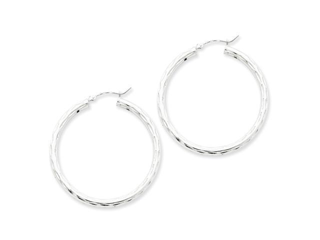 Sterling Silver Diamond-cut Satin Polished Hoop Earrings