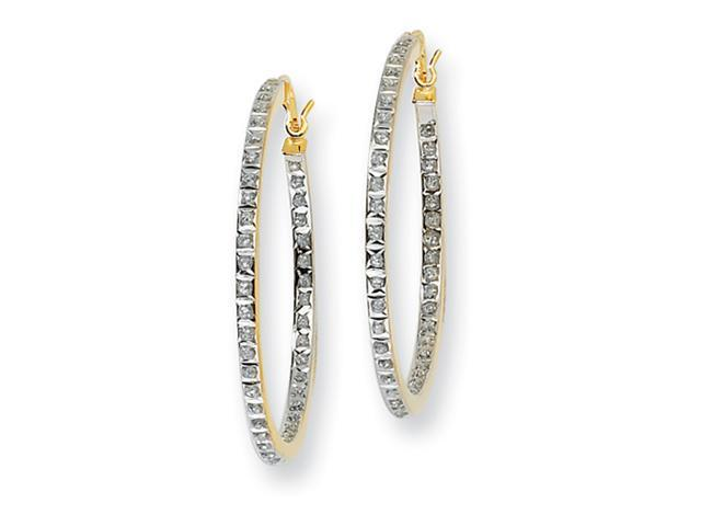 Sterling Silver & Gold-plated Dia. Mystique Round Hinged Hoop Earrings