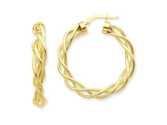 14k Polished Twisted Hoop Earrings