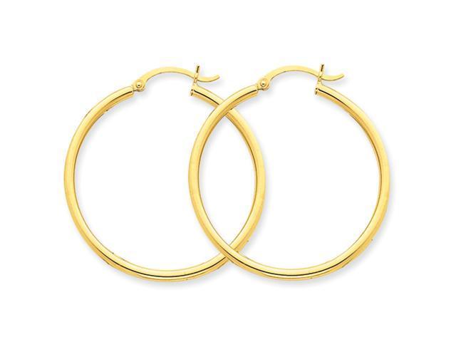 10k Polished 2mm Round Hoop Earrings