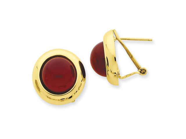 14k Omega Clip Carnelian Earrings