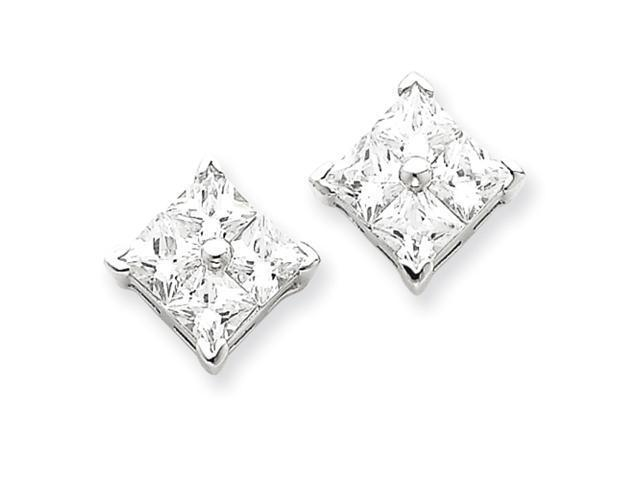 Sterling Silver CZ Large Square Post Earrings