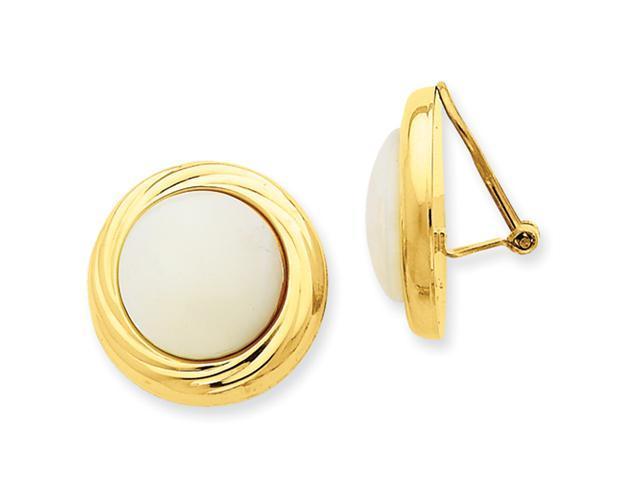 14k Omega Clip MOP Non-pierced Earrings