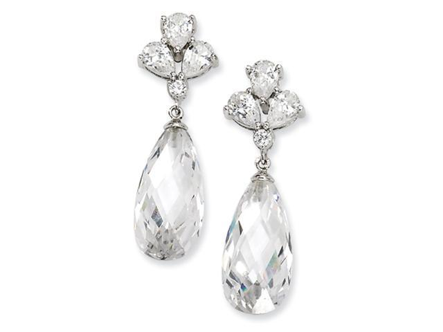 Sterling Silver Teardrop Dangle CZ Post Earrings