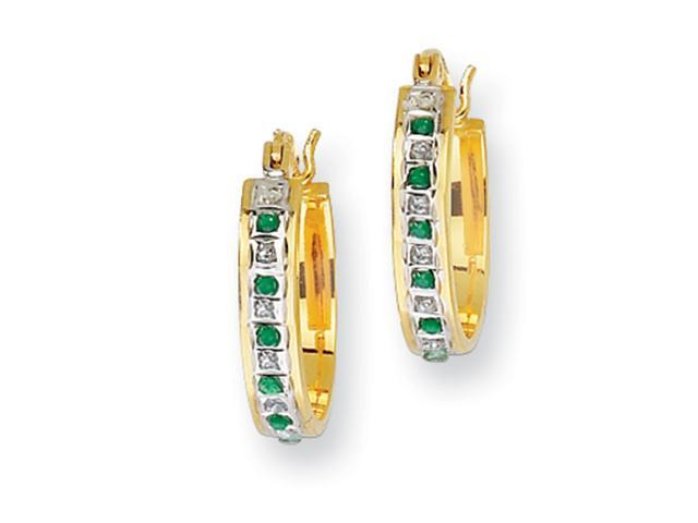 Sterling Silver & Gold-plated Dia. & Emerald Oval Hinged Hoop Earrings