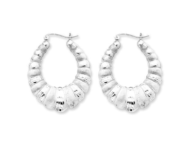 Sterling Silver Polished and Satin D/C Scalloped Hoop Earrings