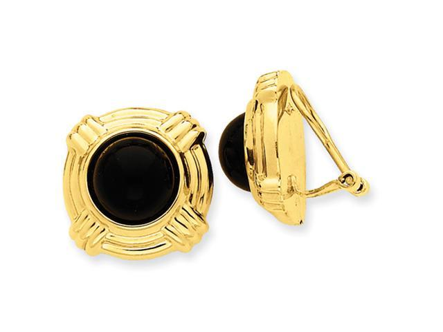 14k Omega Clip Onyx Non-pierced Earrings