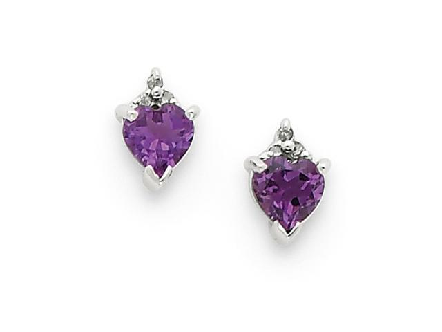 Sterling Silver Rhodium Heart Amethyst & Diamond Post Earrings