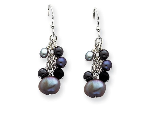 Sterling Silver Gray Cultured Pearls & Onyx Dangle Earrings