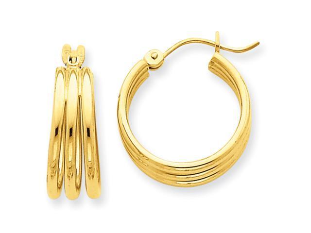 14k Triple Tube Hoop Earrings