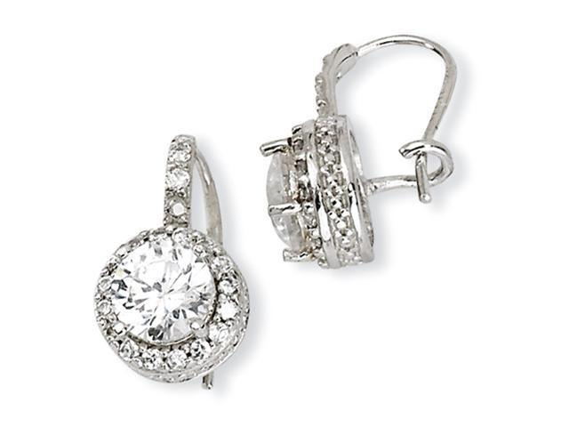 Sterling Silver CZ French Wire Earrings