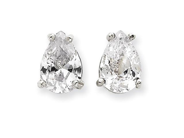Sterling Silver Pear CZ Stud Earrings