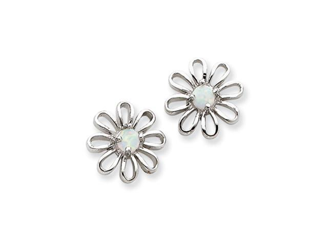 Sterling Silver Created Opal Daisy Post Earrings