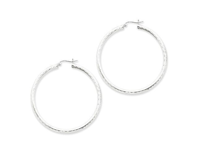 Sterling Silver 3.00mm Diamond Cut Hoop Earrings
