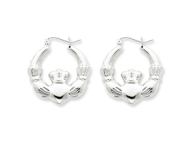 Sterling Silver Polished Claddagh Hoop Earrings