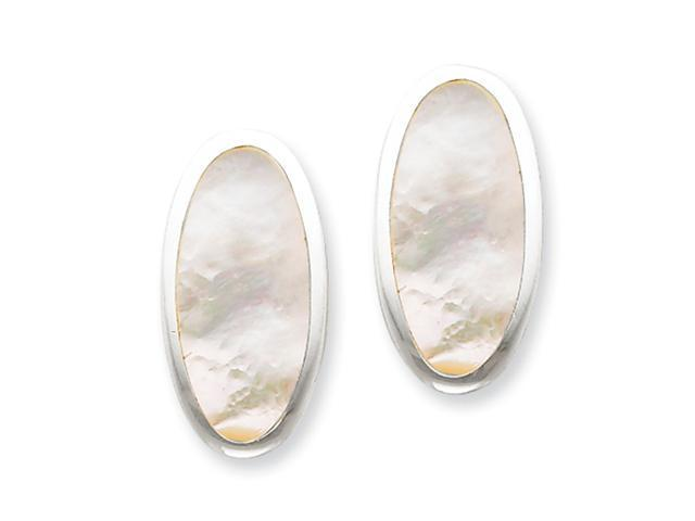 Sterling Silver Oval Mother of Pearl Inlay Non-pierced Earrings