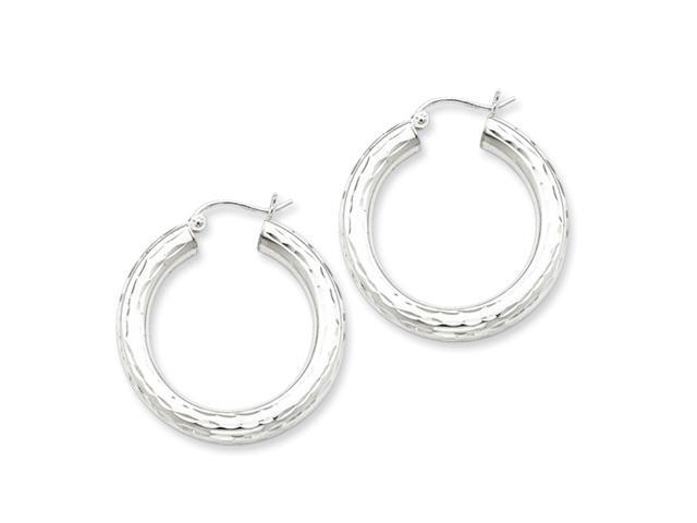 Sterling Silver 4.00mm Diamond Cut Hoop Earrings