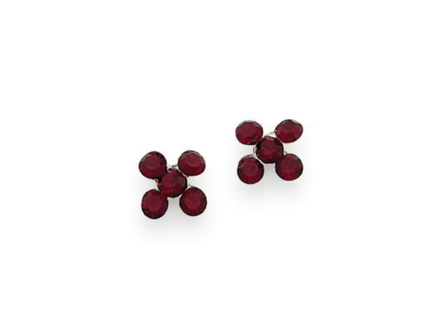 Sterling Silver Red Austrian Crystal Floral Earrings