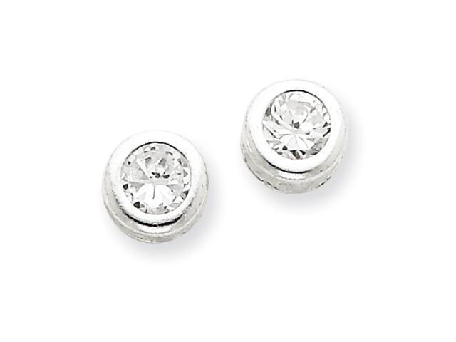 Sterling Silver Bezel CZ Post Earrings
