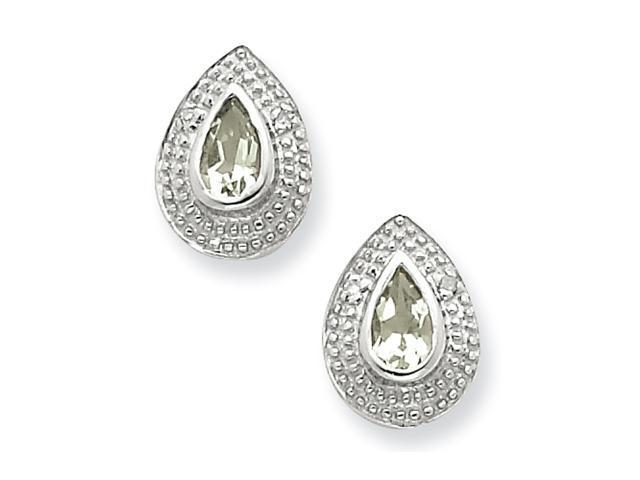 Sterling Silver Rhodium Green Amethyst & Diamond Post Earrings