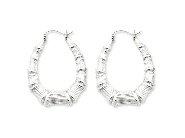 Sterling Silver Oval Bamboo Hoop Earrings