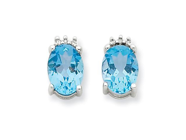 Sterling Silver Rhodium Oval SW Blue Topaz & Diamond Post Earrings