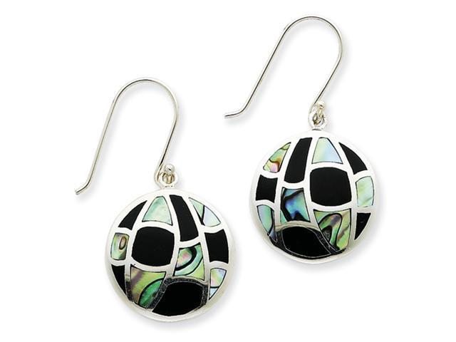 Sterling Silver Onyx & Abalone Earrings